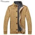Suéteres de los hombres de Invierno Cálido Terciopelo Grueso Sweatercoat Cardigan de Un Solo pecho Casual Hombres Suéteres de Punto Patrón XXL XXXL
