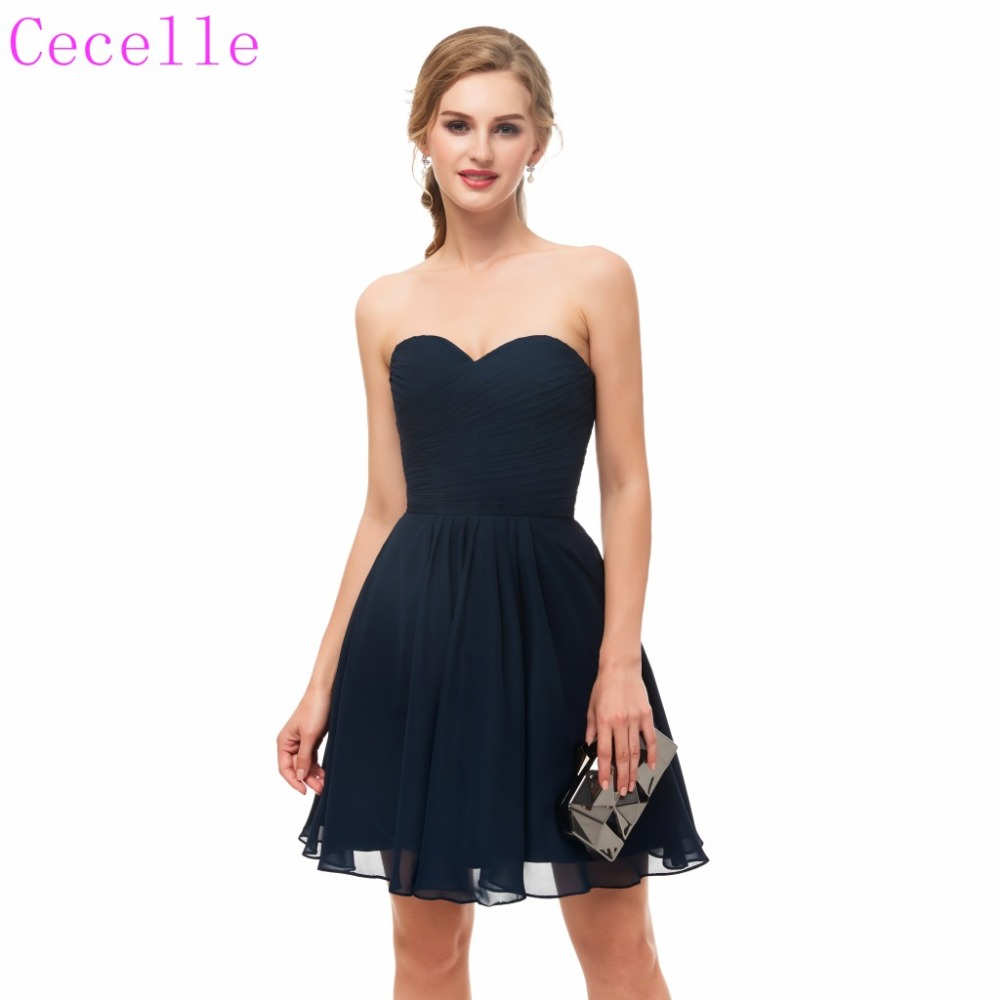 2019 Short Ruched Chiffon Navy Blue Cocktail Dress Sweetheart Above Knee Teens Informal Cocktail Party Dress
