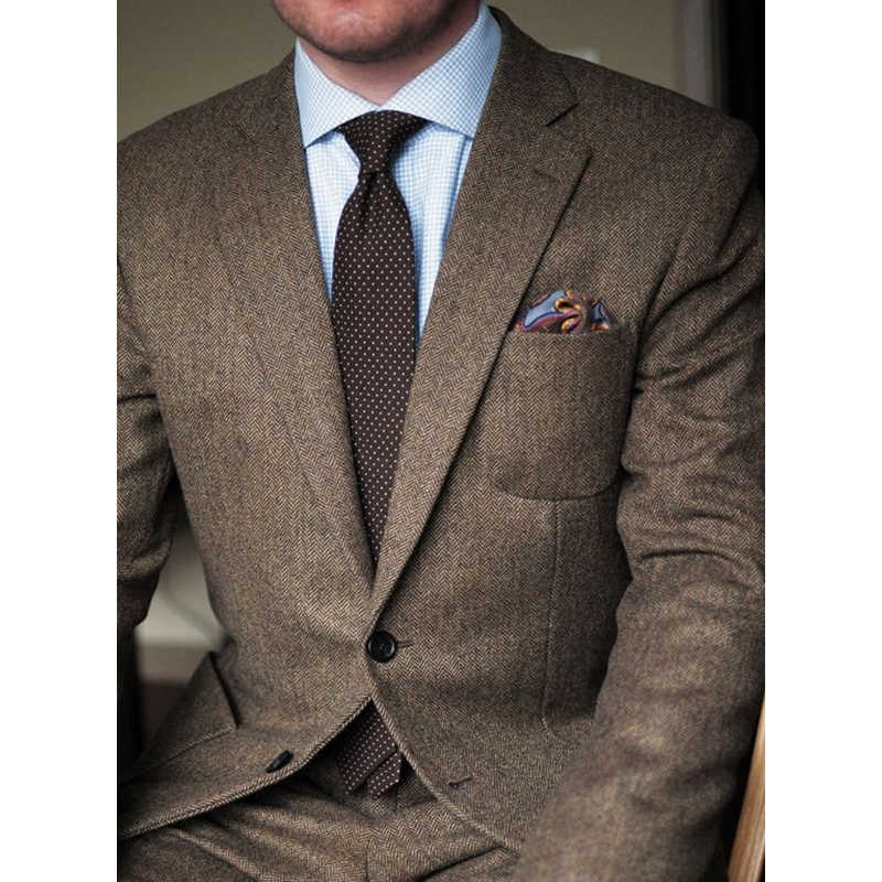 Donkerbruin Tweed Blazer Mannen Wol Visgraat Britse Stijl Custom Made Mens Suit Slim Fit Blazer Wedding Suits Voor Mannen