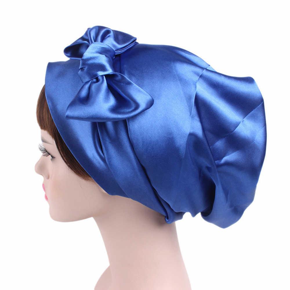 1pc 女性サテン睡眠キャップ髪ボンネット帽子シルクヘッドカバーワイド弾性バンドシャワーキャップ 58 センチメートル
