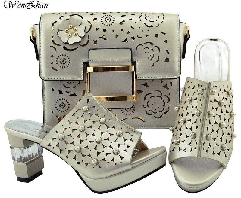 Miły włoski pasujące buty i torba zestaw afrykański styl panie szampana ozdobione perłami 8.5 cm luksusowe projekt najgorętsze B87 13 w Buty damskie na słupku od Buty na  Grupa 1