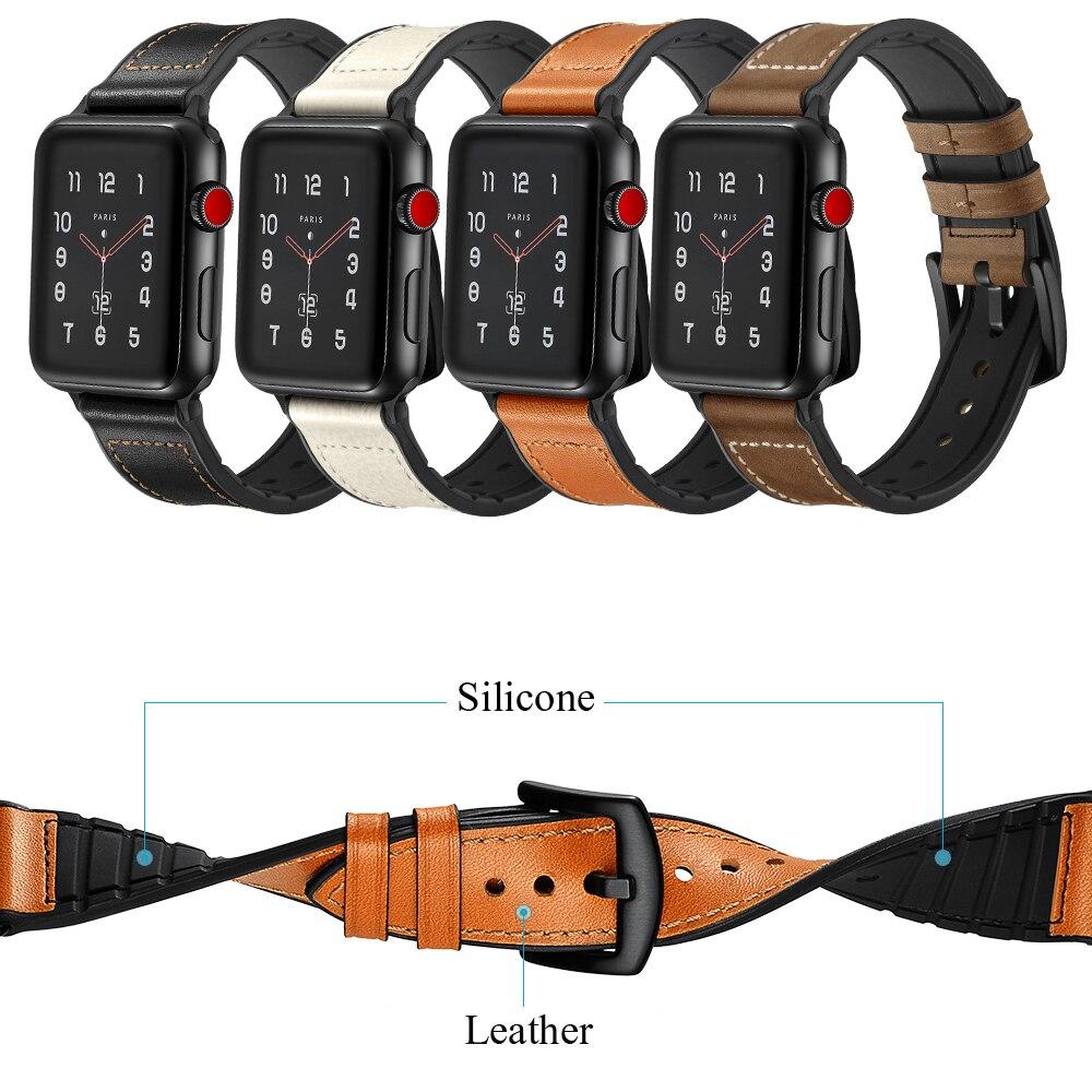 De cuero + correa de silicona para apple watch banda 42mm 38mm iwatch serie 4/3/2/1 44mm 40mm correa de reloj de pulsera de la correa de muñeca Accesorios