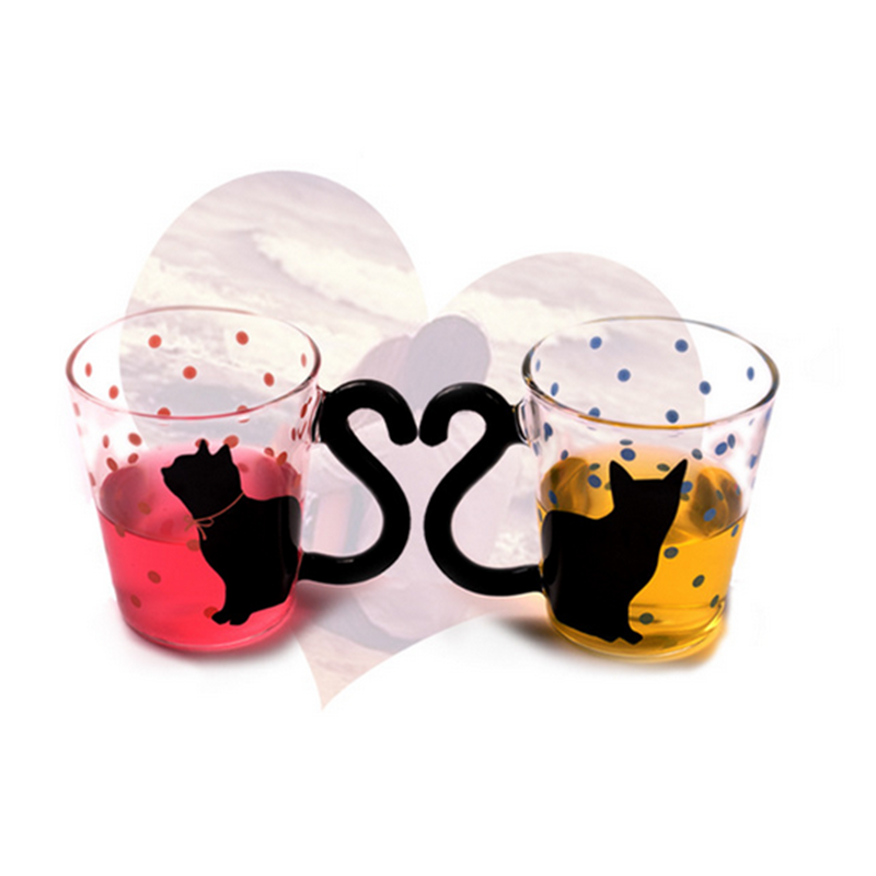 USEBER Four Types of Optional Cute Creative Cat Kitty Glass Mug Cup Tea Cup Milk Coffee