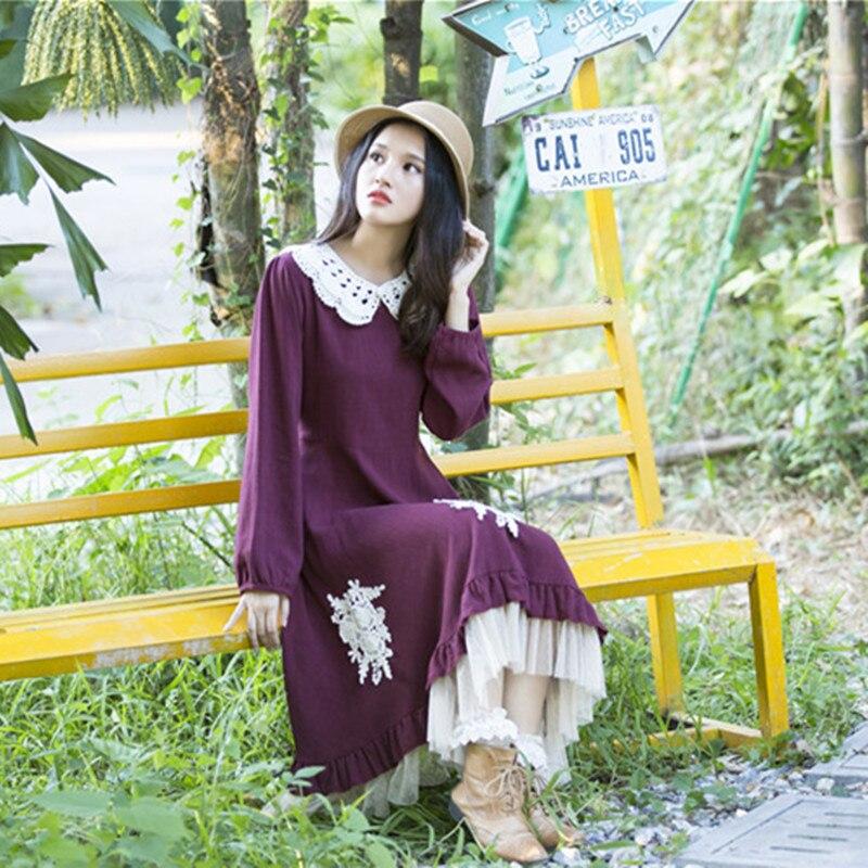 Forest Mori Girl Style Vintage Women Dress Cotton Linen Lace Peter Pan Collar Long Sleeve Retro