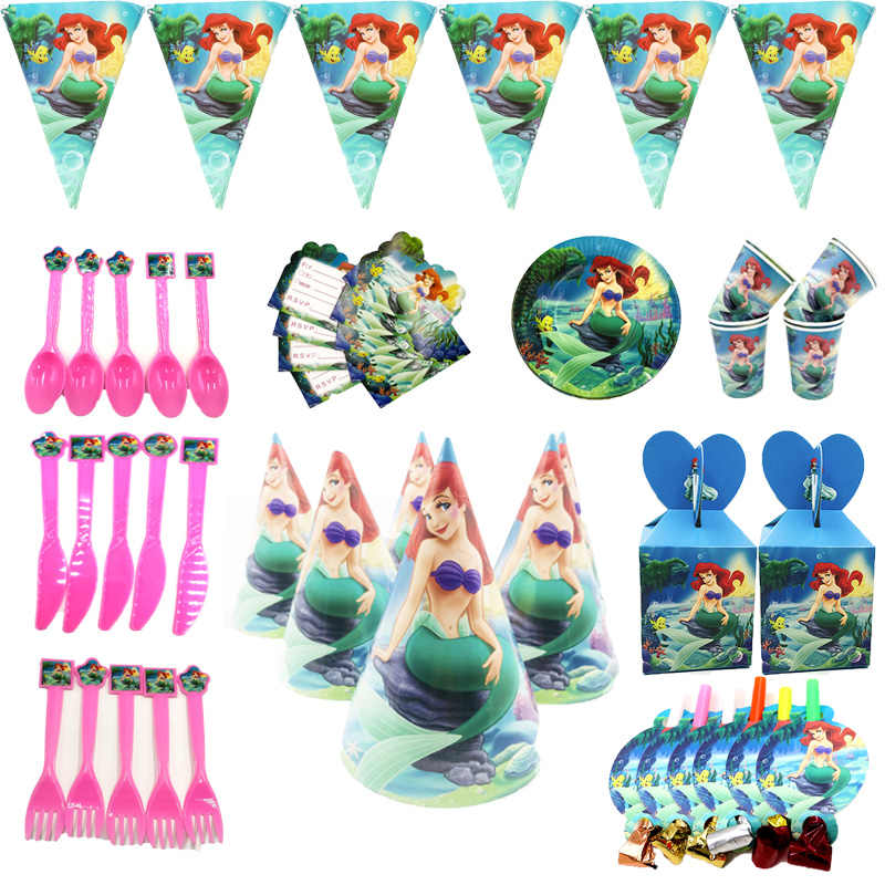 ariel Mermaid Theme Wholesale paper Flags Plate Cap Baby Happy Birthday wedding event party supplies for kids Party decoration