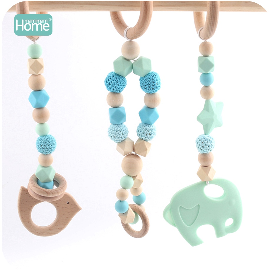 MamimamiHome Baby Play Gym Montessori Toys Baby Teether Beech Wood Ring Crochet Beads Wooden Bird Silicone Elephant Baby Rattle