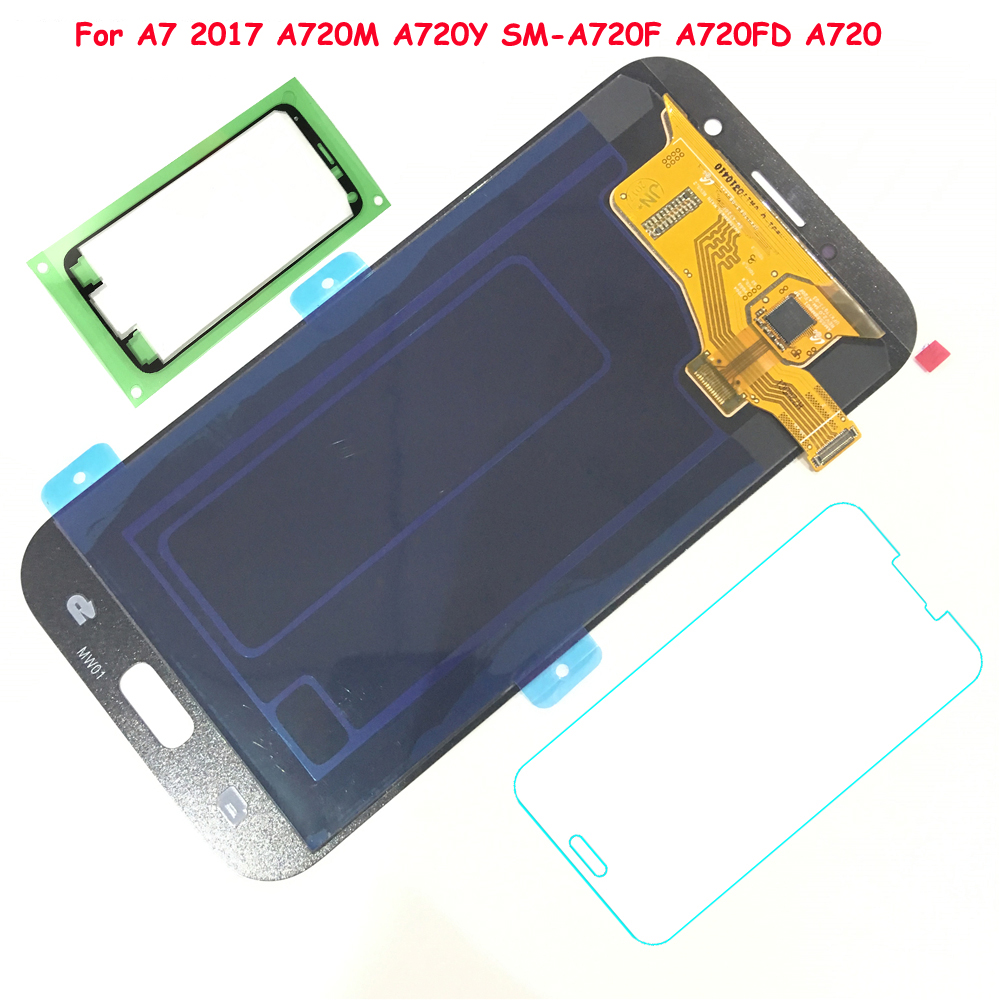 FIX2SAILING 100 Working AMOLED LCD Display Touch Screen Assembly For Samsung Galaxy A7 2017 A720 A720F
