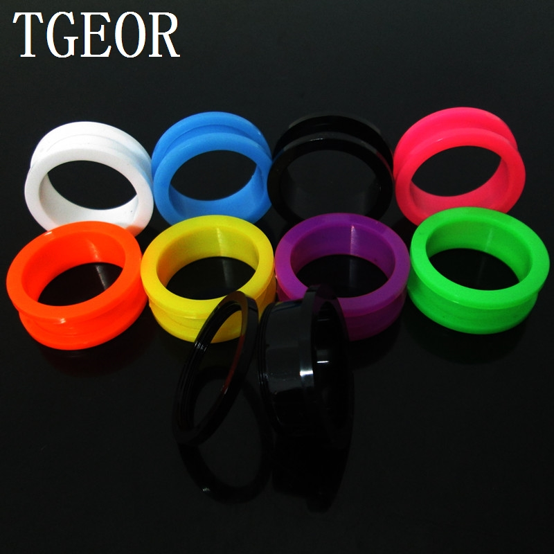 NEW ARRIVAL  1pair mixed 14 gauges solid colors UV acrylic ear expander screw on Flesh Tunnel free shipping