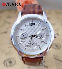Кварцевые Часы Мужчины Роскошные Наручные Часы Мужской Часы Кожа Смотреть Моды Случайные Часы londa-1