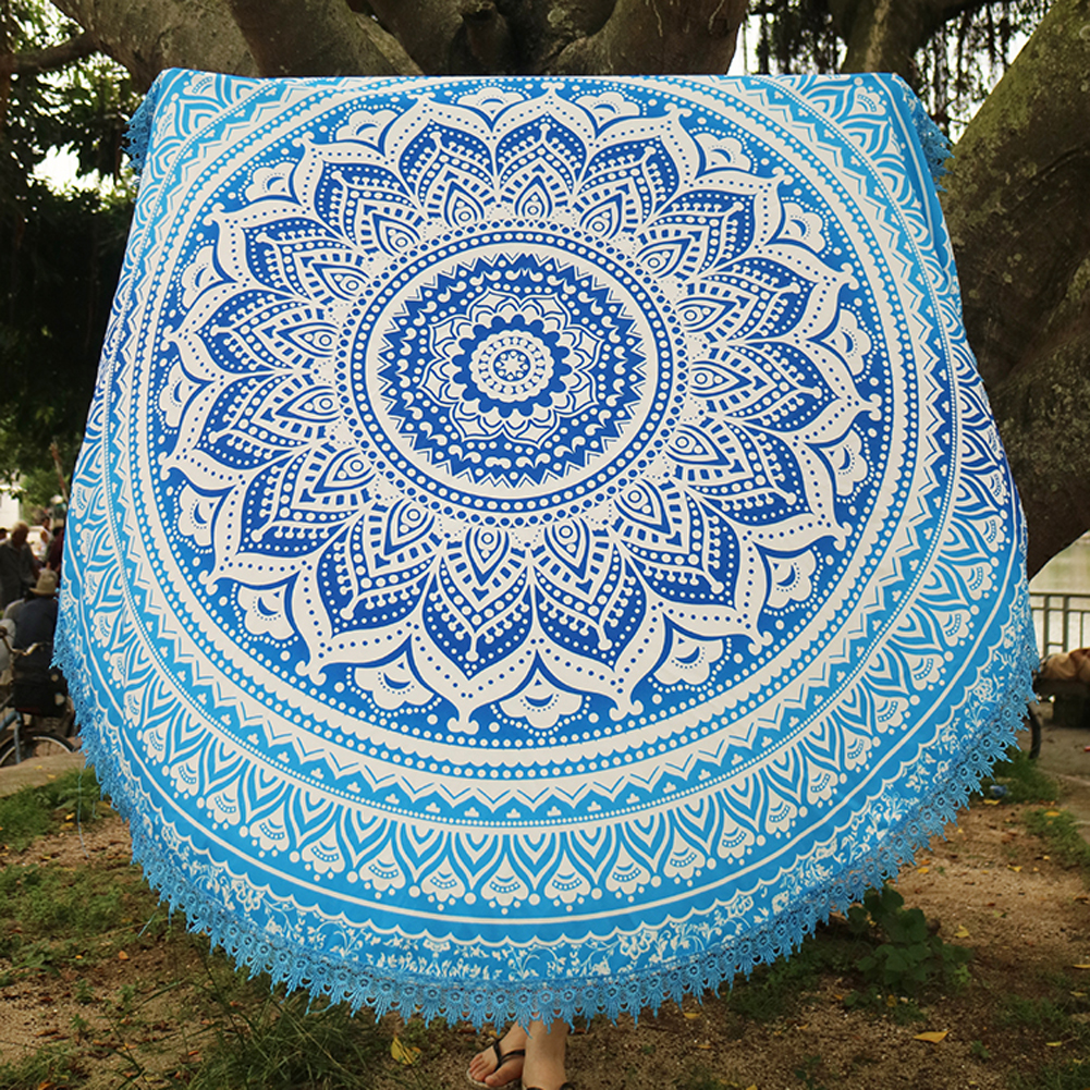Handmade Summer Beach Towels Floral Printed Lace Tassels Round Blanket Bath Towel Swim Cover-ups High water absorbent Yoga Mat 8