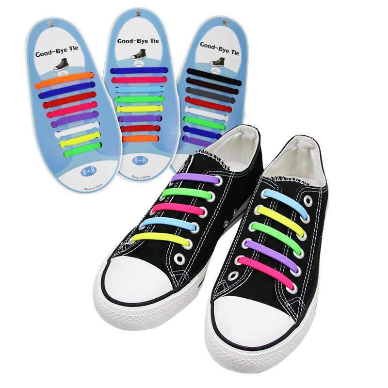16 ชิ้น/ล็อตซิลิโคน Laces รองเท้ายืดหยุ่นพิเศษ No Tie Shoelace สำหรับผู้ชายผู้หญิง Lacing ยาง Zapatillas 13 สี
