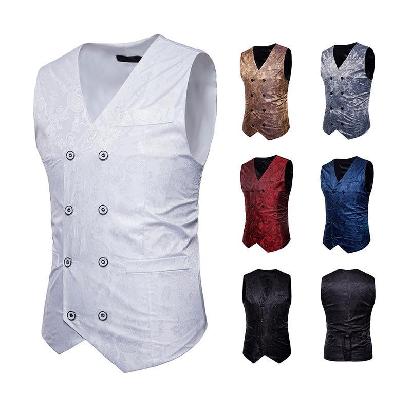 Vest Formal-Dress Slim-Fit Waistcoat Men Business Single-Breasted-Suit Mens Gilet Homme