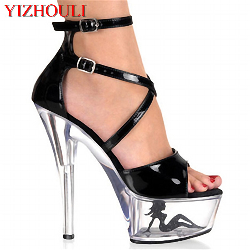 Crystal Ankle Strap 15CM Sexy Super High Heel Platforms Pole Dance / Performance / Star / Model Shoes, Wedding Dance Shoes