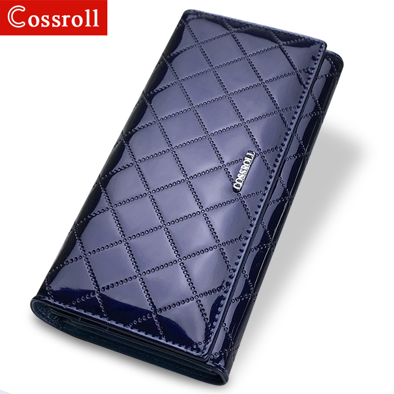 NEW Patent Leather Women Plaid Wallets Long Ladies Wallet Hasp Coin Purse Phone Pocket Female Purses Money Bag High-Capacity patent leather women short wallets ladies small plaid wallet zipper coin purse female credit card wallet purses money bag 40