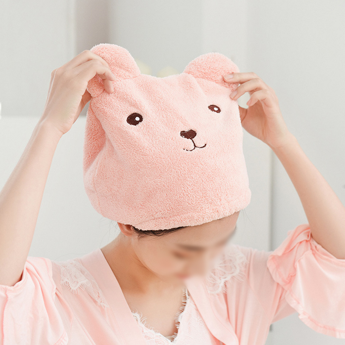 Cute Bear Shower Cap Women Bathroom Super Absorbent Quick-drying Bath Towel Hair Dry Cap Salon Towel Bathroom Products