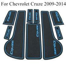 9 Uds estilo de coche Interior antideslizante puerta Mat almohadilla con ranura cojín estera de goma ajuste para Chevrolet Cruze Sedan Hatchback 2009-2014