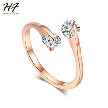 Rose Gold Color Fashion Design Twin Zircon CZ Crystal Engagement Rings for