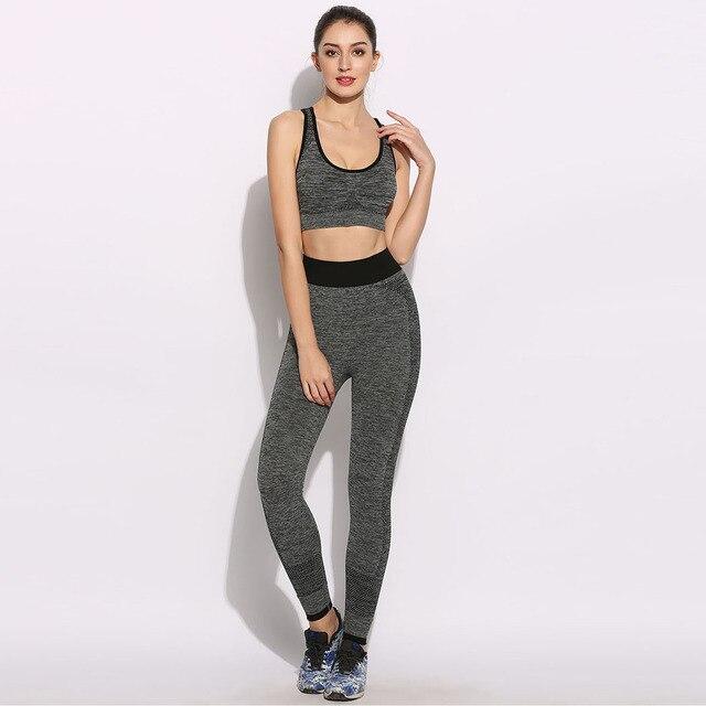 d0d05e1a66 brand 2017 New Women Running Sets No Underwire Sports Vests Bra Exercise  Fitness Pants Female Yoga Sport Suit Jogging Femme