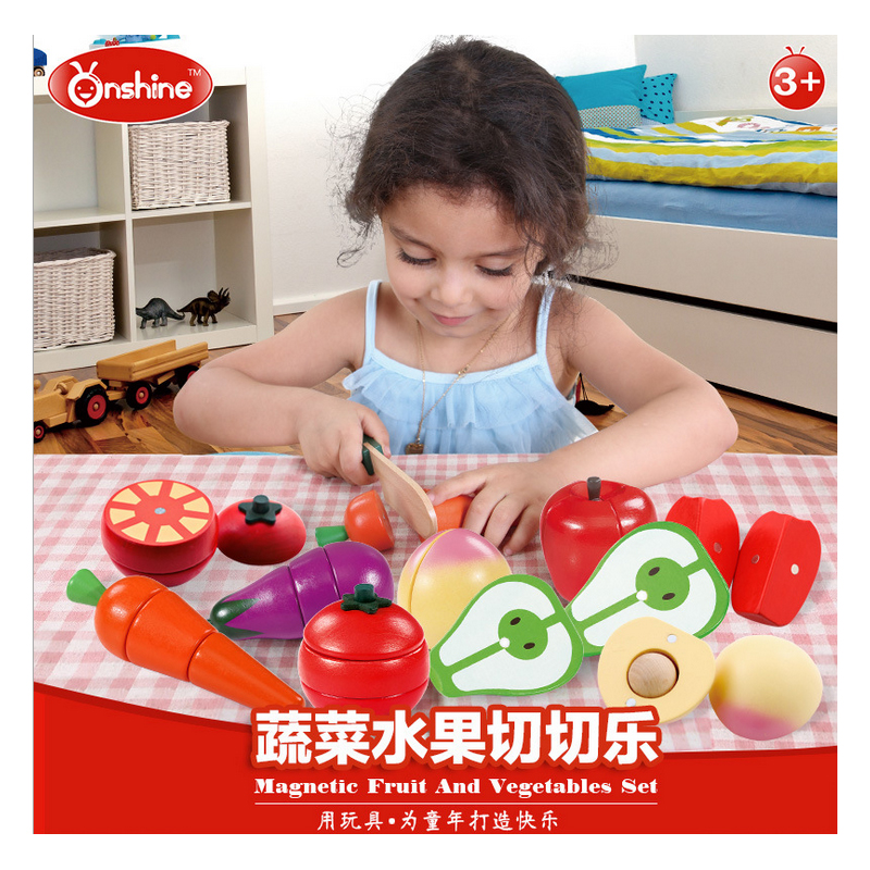 N172 Free shipping 2017 New hot Cut fruit toy vegetables cut out to see wooden baby home kitchen set cut Che Le
