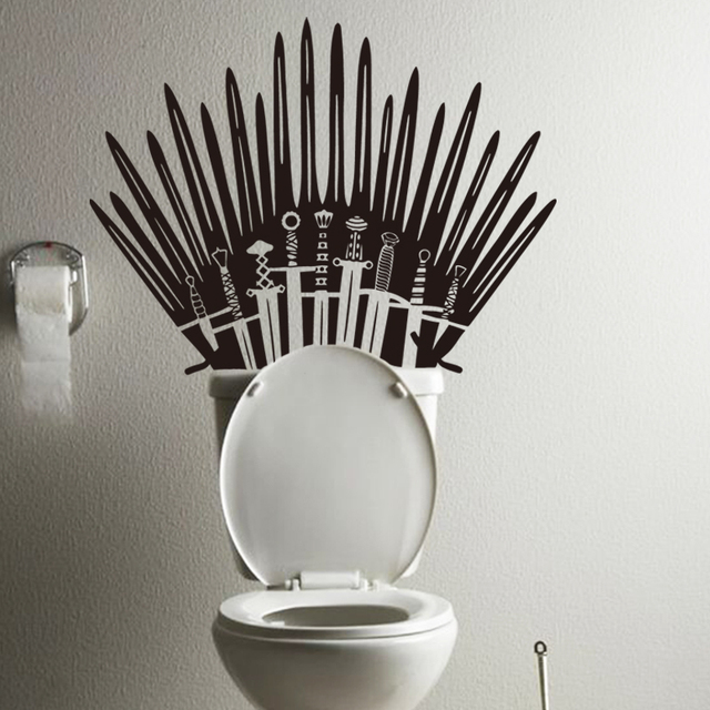 Buy art new design toilet decor vinyl iron throne wall decals removable sword - Decoration toilette ...