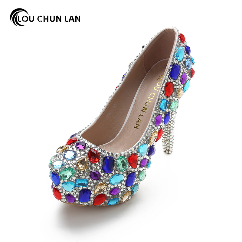 Fashion Women Pumps Shoes Wedding Shoes High Heels multi color crystal slip-onRound Toe platform shoes Free Shipping Party shoes