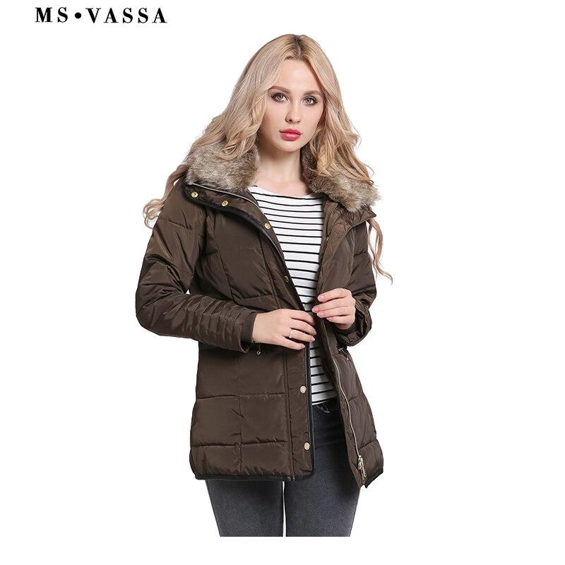 MS VASSA Women Parkas 2019 New fashion Ladies Jackets with fake fur collar Winter Autumn Coats