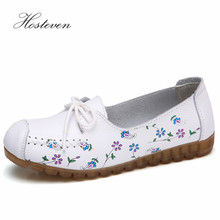 Hosteven Women Shoes Loafers Sneakers Flats Casual Genuine Leather Lace Up Ladies Female Shoe Low Heel Moccasins Footwear недорого