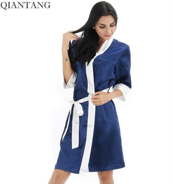Navy Blue Womens Robe Hot Sale Faux Silk Kimono Bath Gown Female Sexy Bathrobe  Nightgown Mujer Pijama Size S M L XL XXL bdt03 8cfa190b4