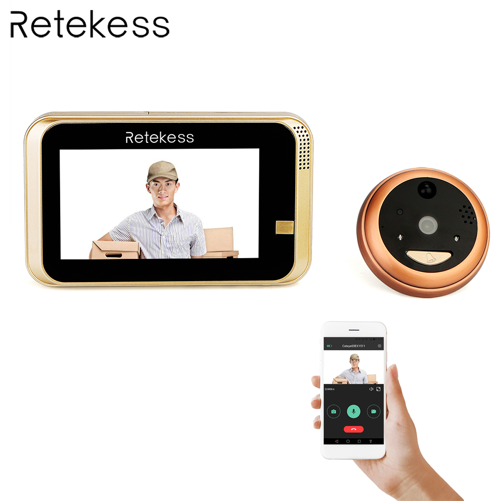 TS101 WIFI Wireless Smart Peephole Video Doorbell 720P HD Camera with IR PIR Alarm Cloud TF Storage Lithium Battery APP Control