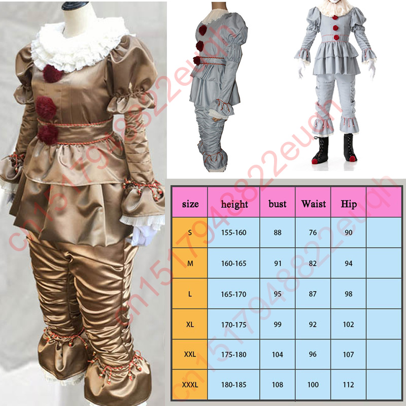 Adult Men Halloween Stephen King's It Costumes for Women Clown Joker Pennywise Cosplay Carnival Purim Masquerade party Dresses