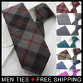 Man Fashion Accessories 26 colors Plaid Jacquard Woven 6cm Slim Tie Casual Necktie for Men Freeshipping