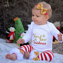 4Pcs Christmas Newborn Baby Girls Clothes Bodysuit Leg Warmer Outfit Gift
