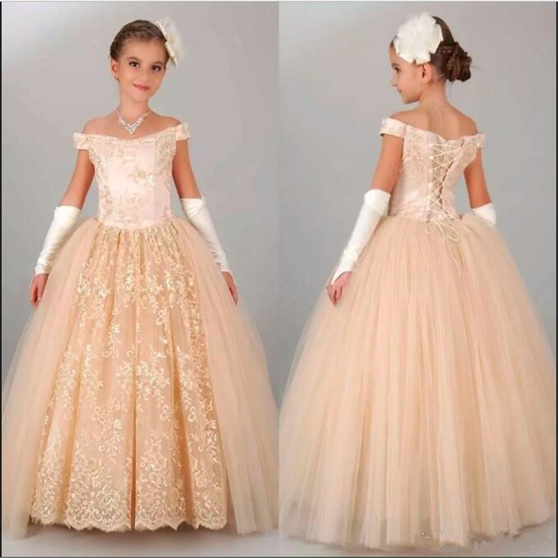 Cheap and Simple   Flower     Girls     Dresses   For Wedding Off Shoulder Full Lace Champagne Pageant Gowns Ball Gowns for Princess Party