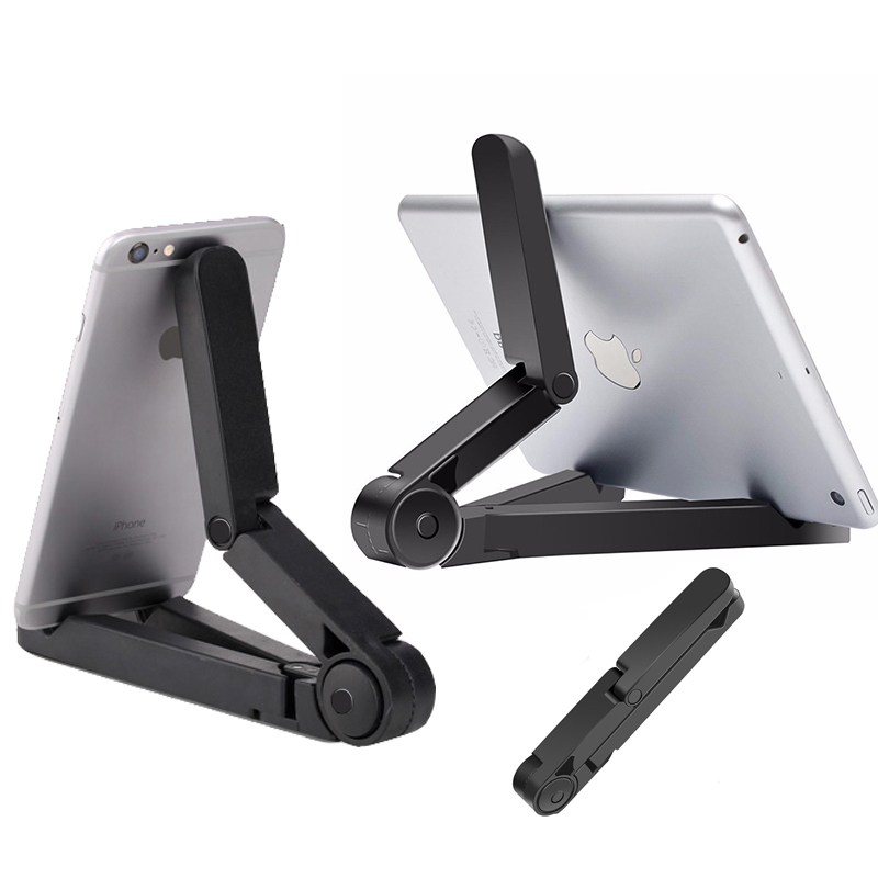 Mobile Phone Tripod Holder Foldable Adjustable Cellphone Stand Bracket For IPad Tablet PC Kindle SamsWall Clock Mount 4-10 Inch