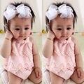 New Baby Девушки Цветок Кружевном Платье Комбинезон Оборками Розовый Рукавов Комбинезон Экипировка Набор