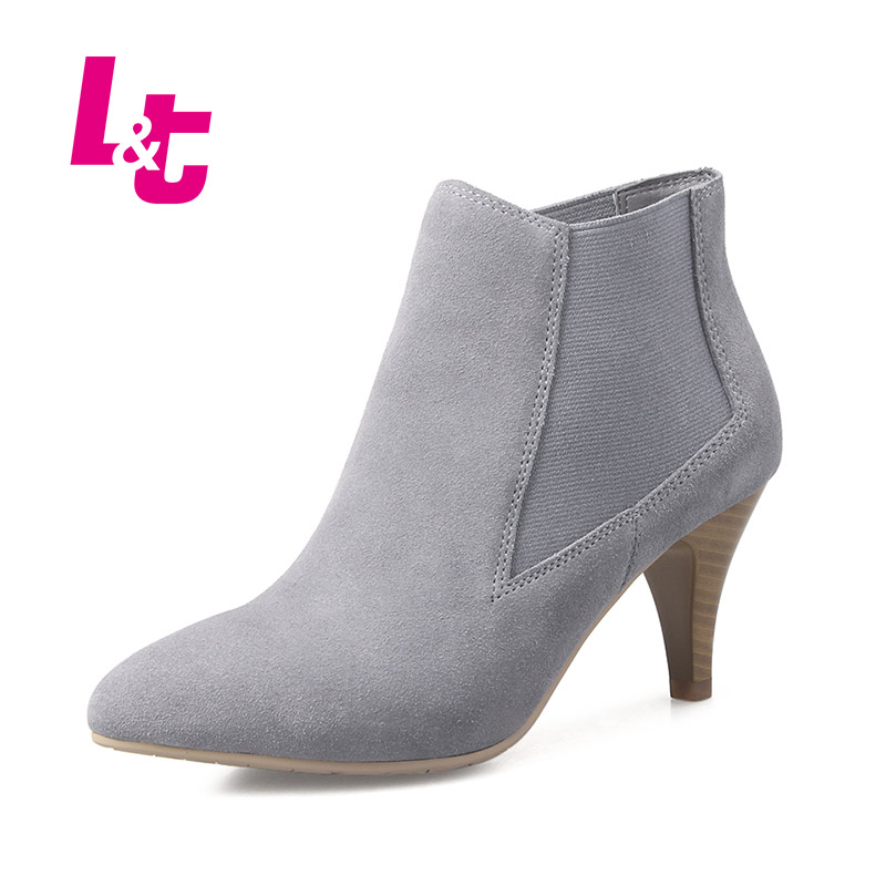 L&T women ankle boots autumn/winter suede pointed toe nubuck leather high heels biker boots high quality brand calzado mujer egonery quality pointed toe ankle thick high heels womens boots spring autumn suede nubuck zipper ladies shoes plus size