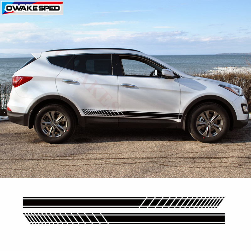 The Cheapest Price Motor Sport Styling Vinyl Decal Car Door Side Decor Stickers Auto Body Customized Stripes For Hyundai Santa Fe Grand Santa Fe Automobiles & Motorcycles