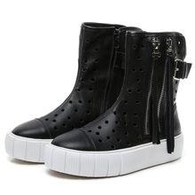 Купить с кэшбэком NAYIDUYUN     Vulcanized Shoes Women Cow Leather Wedges Platform Sneakers Summer High Heel Oxfords Walking Loafers Casual Shoes