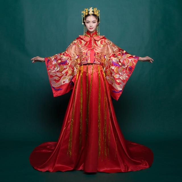 Kleidung Zeigen Chinesische Art Vintage Drachen Kleid Abend Formal