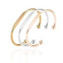 Mylongingcharm 50 Stks/partij Blank Manchet Armbanden Graveerbare Koperen Armband Rosegoud Gouden Armbanden T0692