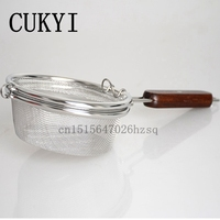 CUKYI Manual Coffee Roaster Machine Stainless Steel Made Hand Use Coffee Bean Baker Wooden Handle