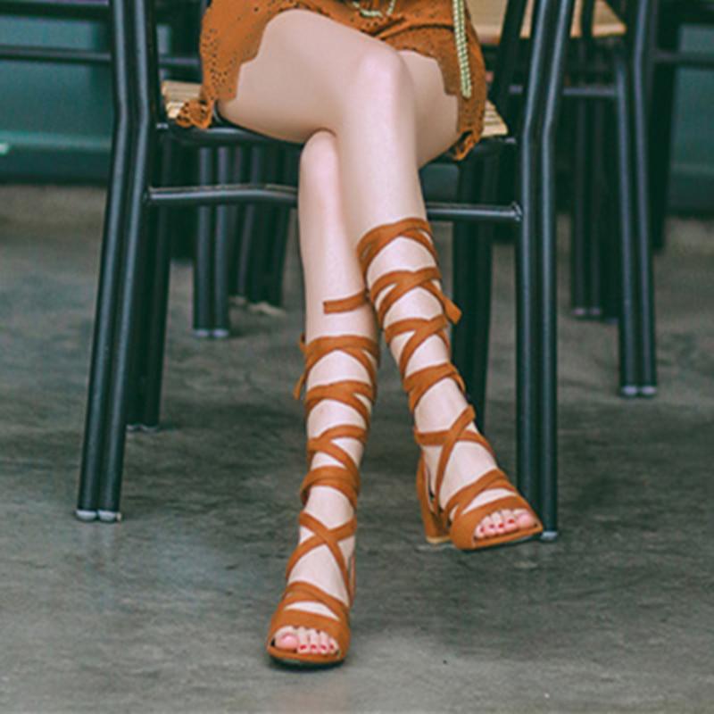 Plus Size 42 Summer PU Leather Women Lacing Sandals Roman Style Open Toe Solid Color Women Summer Shoes Square Heel 5cm Sandals women sandals elegant style 2018 new square heel solid color medium heel black beige gray female summer sandals plus size 34 40