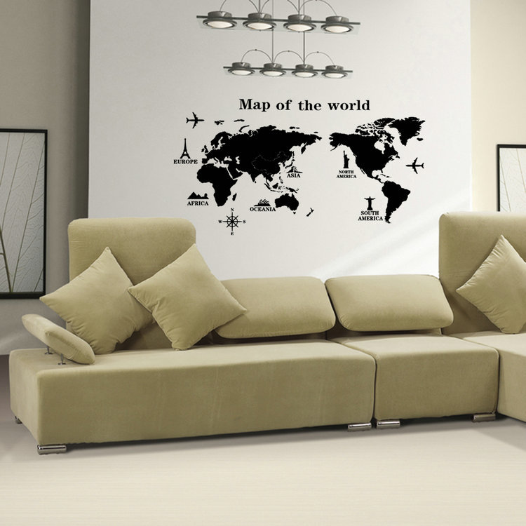 removable pvc vinyl art room world map wall sticker decal mural home decor diy in wall stickers from home garden on aliexpresscom alibaba group