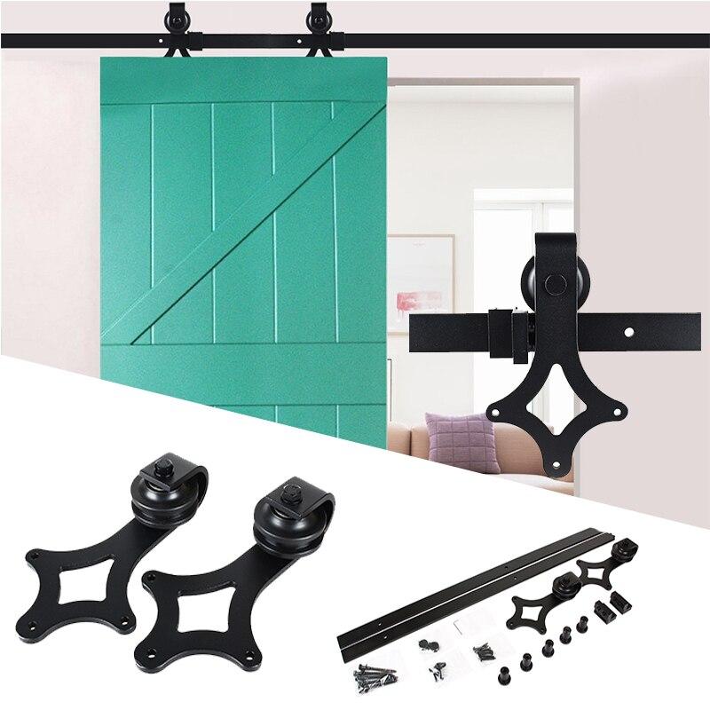Image 3 - Sliding Door Wood Door Slide Rail System Antique Track puerta corredera shower roller coulissante 6FT(1830mm )/ 6.6FT(2000mm)-in Door Rollers from Home Improvement