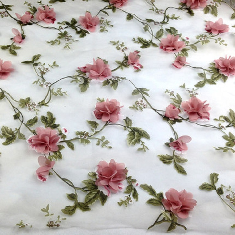 Blush Floral 3D Orchids On Mesh Lace Fabric By The Yard Used For FREE SHIPPING!!! Dress-Accessories-Decorations