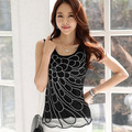 2017 Summer Tops Blusa Slim all-match diamond Mesh Lace blouse Shirt Casual Sleeveless Vest shirt Fashion Women clothing