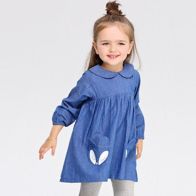 2016 осень-весна девушка платье 80-120 см fox blue dot Малышей детские платья девушки детская одежда детей платье новое Прибытие
