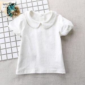 Kacakid/Новая летняя одежда для маленьких девочек, футболка с кукольным воротником для девочек, детская хлопковая рубашка с короткими рукавами