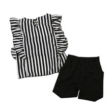 2018 Toddler Kids Baby Girls Outfit Clothes Striped T shirt Tops Shorts Pants Set