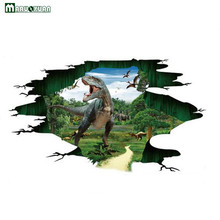 New Creative Large 3D Dinosaur Jurassic Park Wall Stickers For Kids Bedroom Mural Wallpaper Bathroom Floor Wall Decor Poster